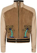 Topman Topman Design Brown Palms Faux Suede Jacket