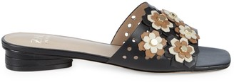Zac Posen Nicole Floral Perforated Leather Slides