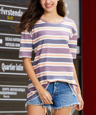 Luukse Women's Tee Shirts 101PURPLE/CHARCOAL - Purple & Charcoal Stripe Oversize Short-Sleeve Top - Women