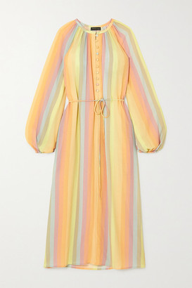 Stine Goya Elia Belted Striped Crepe Midi Dress - Yellow