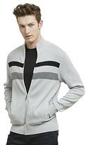 Kenneth Cole Reaction Men's Full Zip Mock Neck Sweater with Stripes