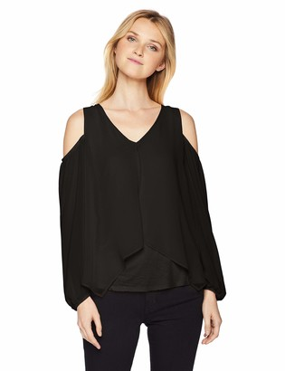 Amy Byer A. Byer Junior's Young Woman's Teen Split Front Cold Shoulder Top and Necklace