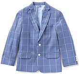 Class Club Big Boys 8-20 Windowpane Notch Lapel Blazer