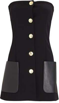 Proenza Schouler Leather-Trimmed Strapless Suiting Top