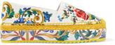 Dolce & Gabbana Printed Brocade Platform Espadrilles - Yellow
