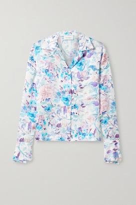 ART DEALER Floral-print Silk-satin Jacquard Shirt - White