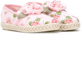 MonnaLisa floral embellished slippers - kids - Canvas/Leather/rubber - 26