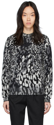 Saint Laurent Grey Leopard Jacquard Sweater