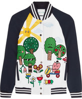 Mira Mikati Happy Forest Appliquéd Crepe Bomber Jacket - Navy
