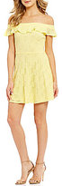 Teeze Me Off-The-Shoulder Ruffled Yoke Burnout Fit-and-Flare Dress