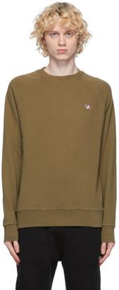MAISON KITSUNÉ Khaki Tricolor Fox Sweatshirt