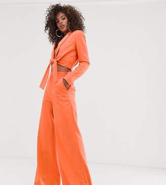 Asos Tall DESIGN Tall extreme high waist wide leg suit pants-Orange