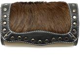 Khangura Leather Fur Clutch