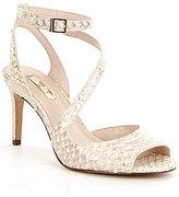 Louise et Cie Kealy Python Embosses Peep-Toe Ankle Strap Dress Sandals