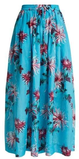 Diane von Furstenberg Floral Print Cotton Blend Skirt - Womens - Blue Multi