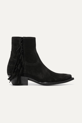 Saint Laurent Lukas Distressed Fringed Suede Ankle Boots - Black