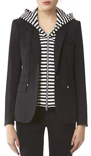 Veronica Beard Navy Classic Jacket With Navy White Stripe Hooded Dickey