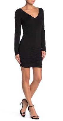 Velvet Torch Ruched V-Neck Mini Dress