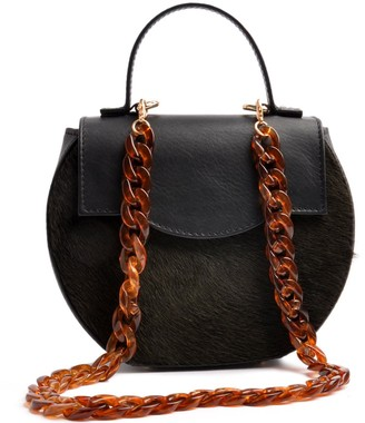 Ostwald Finest Couture Bags Circle Flap In Nero Black & Anthracite
