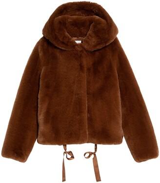 Sandro Faux Fur Hooded Jacket