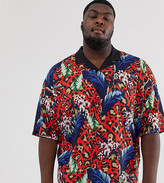 Asos Design DESIGN Plus oversized revere polo with floral and leopard print