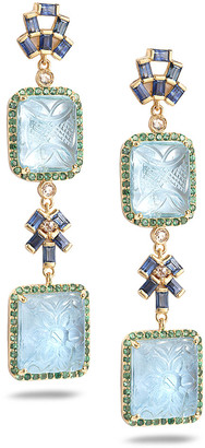 Coomi Affinity 20K Carved Aquamarine 2-Drop Earrings