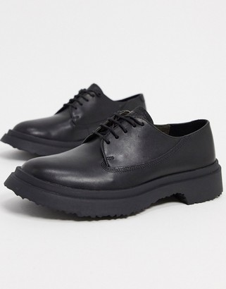 Camper chunky leather lace up flat shoes in black