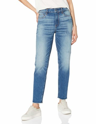G Star Women's 3301 Ripped High Waist Straight Ankle Jeans