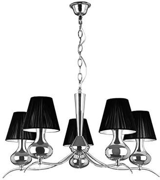 Premier Housewares E14 Small Edison Screw 5 Arm Chrome Pendant Light, 60 W - Black