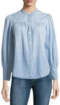 Joie Aubrielle Button-Front Long-Sleeve Chambray Top
