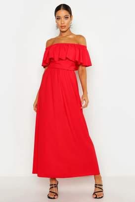 boohoo Woven Bardot Frill Maxi Dress