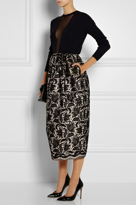 ADAM by Adam Lippes Bonded lace and silk midi skirt
