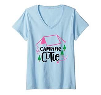 Womens Camping Cutie Design V-Neck T-Shirt