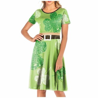 MRULIC St. Patrick's Day Dress Womens Short Sleeve Mini Dresses Casual Loose Tunic Round Neck Tshirt Dress Skater Dress Swing Party Dress (Green 2XL)