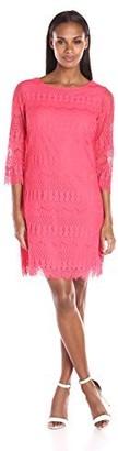 Ronni Nicole Women's Three-Quarter-Sleeve Fringed Lace Sheath Dress