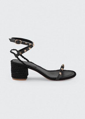 Valentino Rockstud Rope Ankle-Strap Sandals