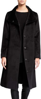 Eileen Fisher Luxe Baby Alpaca High-Collar Button-Front Coat