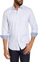 Bugatchi Shaped Fit Windowpane Button-Up Shirt