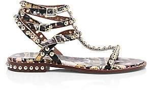Ash Women's Python-Embossed Leather Studded Ankle Sandals