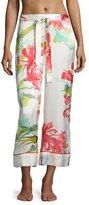 Josie Natori Tropics Watercolor Silk Lounge Pants, Multicolor