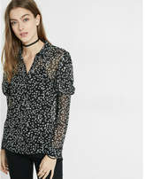 Express Floral Print Puffed Long Sleeve Blouse