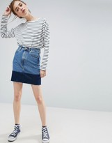 Asos Denim Mini Skirt with Contrast Hem