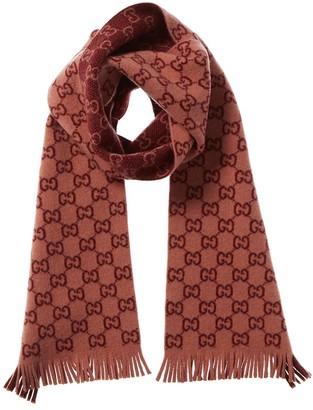 Gucci Gg Jacquard Print Wool Scarf