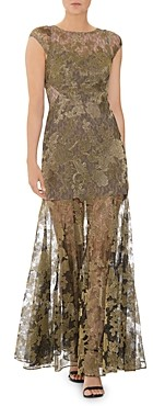 Halston Metallic Embroidered Lace Evening Gown
