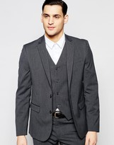 Asos Wedding Slim Suit Jacket With Stretch In Charcoal
