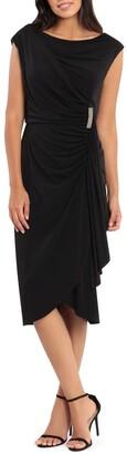 London Times Sleeveless Ruched Drape Front Sheath Dress
