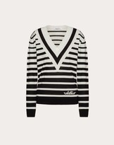 Valentino Signature Degrade Stripe Wool Sweater Women Black/ivory Virgin Wool 100% M