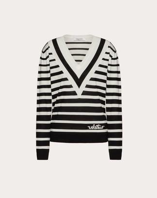 Valentino Signature Degrade Stripe Wool Jumper Women Black/ivory Virgin Wool 100% L