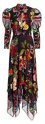 Alice + Olivia Women's Karen Floral Puff Sleeve Handkerchief Midi Dress