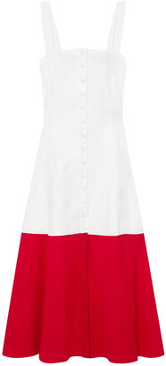 STAUD Two-tone Cotton-blend Poplin Midi Dress